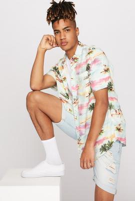 men fashion tropical print button up