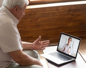 older patient with doctor on video call