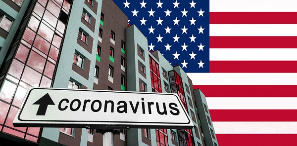 apartment buildings with American flag and coronavirus sign